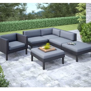 Oakland Textured Black Weave Six-Piece Sectional Chaise Lounge and Chair Outdoor Patio Set