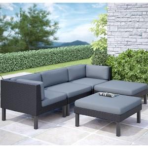Oakland Textured Black Weave Five-Piece Chaise Outdoor Lounge Patio Set