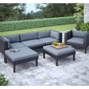 Oakland Textured Black Weave Six-Piece Sofa with Chaise Lounge and Chair Outdoor Patio Set