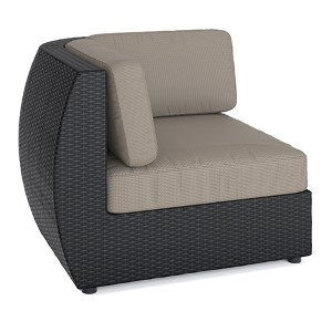 Seattle Textured Black Weave Outdoor Patio Corner Seat