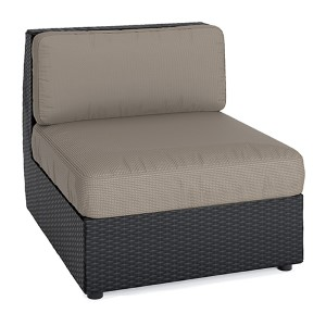 Seattle Textured Black Weave Outdoor Patio Middle Seat