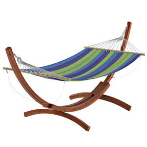Standing Patio Hammock in Blue and Green Striped Canvas