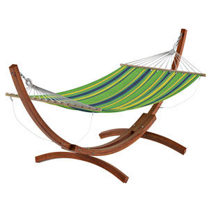 Standing Patio Hammock in Blue, Green and Yellow Striped Canvas