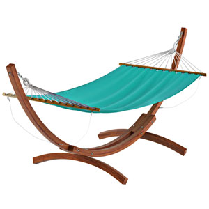 Standing Patio Hammock in Teal Canvas