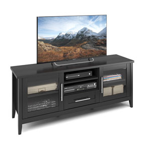 Jackson TV Bench in Black Wood Grain Finish, For TVs up to 65 Inches