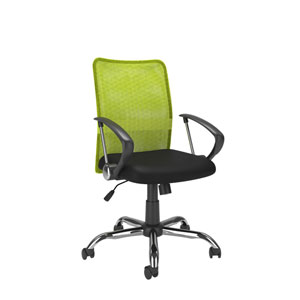 Workspace Office Chair with Contoured Lime Green Mesh Back
