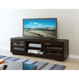 Granville 66-Inch Deep Black Wood Veneer TV Bench