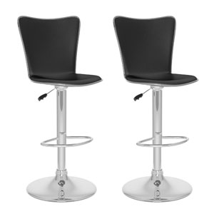 Dining Black Leatherette Tall Curved Back Adjustable Bar Stool, Set of Two