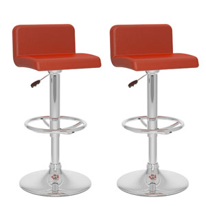 Dining Red Leatherette Low Back Adjustable Bar Stool, Set of Two