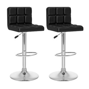 Dining Black Leatherette High Back Adjustable Bar Stool, Set of Two