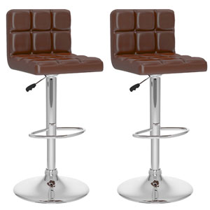 Dining Brown Leatherette High Back Adjustable Bar Stool, Set of Two