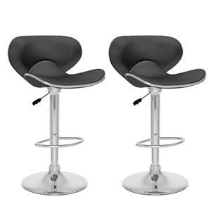 Dining Black Leatherette Curved Form Fitting Adjustable Bar Stool, Set of Two