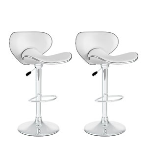Dining Curved Form Fitting White Leatherette Adjustable Bar Stool, Set of Two