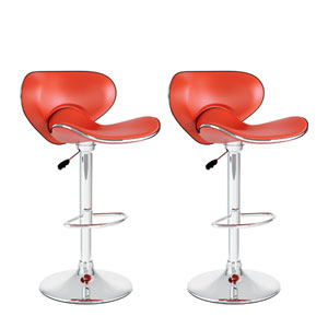 Dining Red Leatherette Curved Form Fitting Adjustable Bar Stool, Set of Two