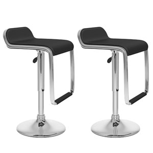 Dining Black Leatherette Adjustable Bar Stool with Footrest, Set of Two