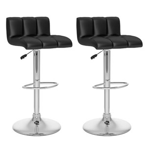 Dining Black Leatherette Low Back Adjustable Bar Stool, Set of Two