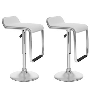 Dining White Leatherette Adjustable Bar Stool with Footrest, Set of Two