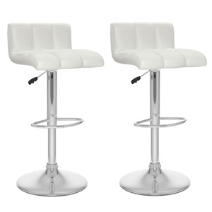 Dining White Leatherette Low Back Adjustable Bar Stool, Set of Two