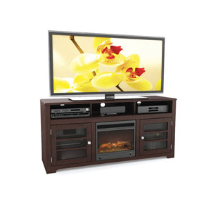 West Lake Dark Espresso 60-Inch Fireplace TV Bench