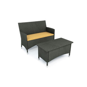 Cascade River Rock Black Weave Sofa (sold with coffee table)
