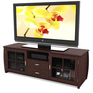 Washington Espresso 59-Inch Wood Veneer TV / Component Bench
