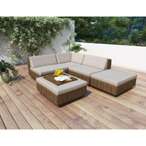 Saddle Strap Brown Weave Five Piece Sectional Patio Set