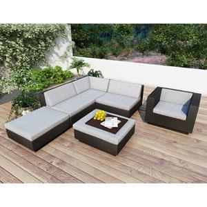 Park Terrace Textured Black Five Piece Sectional Patio Set