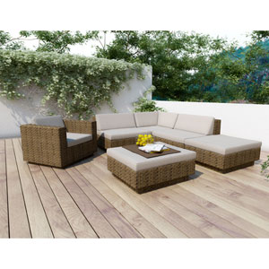 Saddle Strap Brown Weave Six Piece Sectional Patio Set