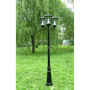 Black 7-Foot Solar LED Triple-Lantern Outdoor Post Light