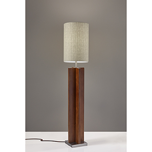 Marcus Walnut Birch Wood and Brushed Steel Accent One-Light Floor Lamp