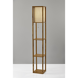Wright Natural Wood Veneer One-Light Shelf Lamp