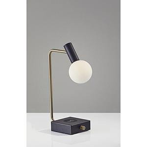 Windsor Matte Black and Antique Brass 220V Accent LED Desk Lamp