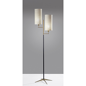 Davis Matte Black and Antique Brass Two-Light Floor Lamp