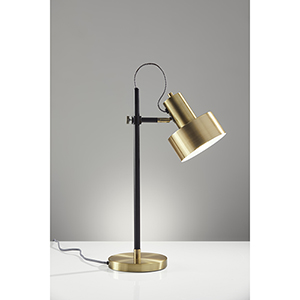 Clayton Matte Black and Antique Brass One-Light Desk Lamp