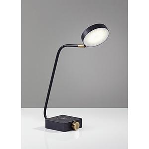 Conrad Matte Black and Antique Brass Accent 220V LED Desk Lamp