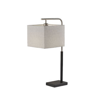 Flora Black and Brushed Steel One-Light Table Lamp