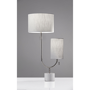 Sloan Polished Nickel Two-Light Table Lamp