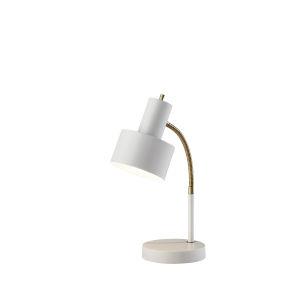 Stark White and Antique Brass One-Light Desk Lamp