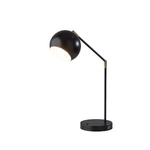 Ashbury Black Antique Brass Accent One-Light Desk Lamp