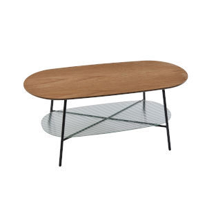 Diane Natural Wood and Black Two-Tiered Coffee Table