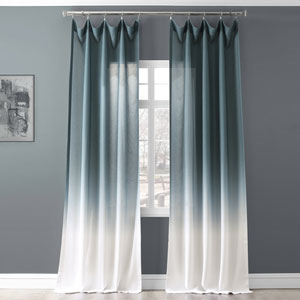 Ombre Aqua Blue 96 x 50 In. Faux Linen Semi Sheer Curtain Single Panel