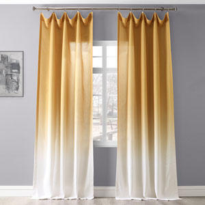 Ombre Gold 96 x 50 In. Faux Linen Semi Sheer Curtain Single Panel