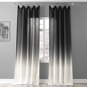 Ombre Black 96 x 50 In. Faux Linen Semi Sheer Curtain Single Panel