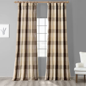 Grey Check 84 x 50 In. Faux Silk Plaid Curtain Single Panel