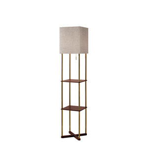 Harrison Antique Brass and Walnut Wood Paper Veneer One-Light Shelf Floor Lamp