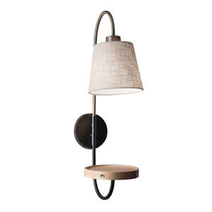 Jeffrey Black and Antique Brass One-Light Wall Lamp