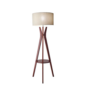 Bedford Solid Walnut Wood One-Light Floor Lamp with Shelf