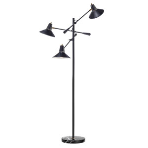 Nelson Black Three-Light Floor Lamp