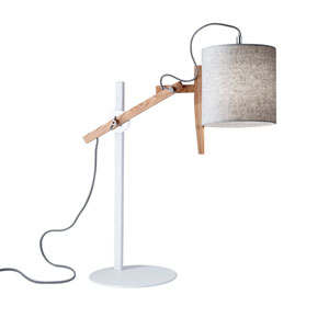 Keaton White and Natural Ash Wood One-Light Desk Lamp