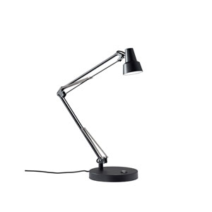 Quest Black LED One-Light USB Port Desk Lamp